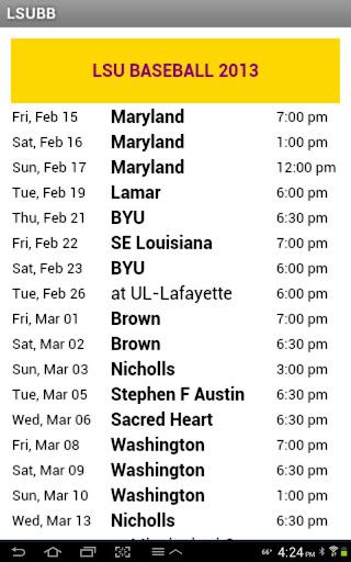 LSU Baseball Schedule