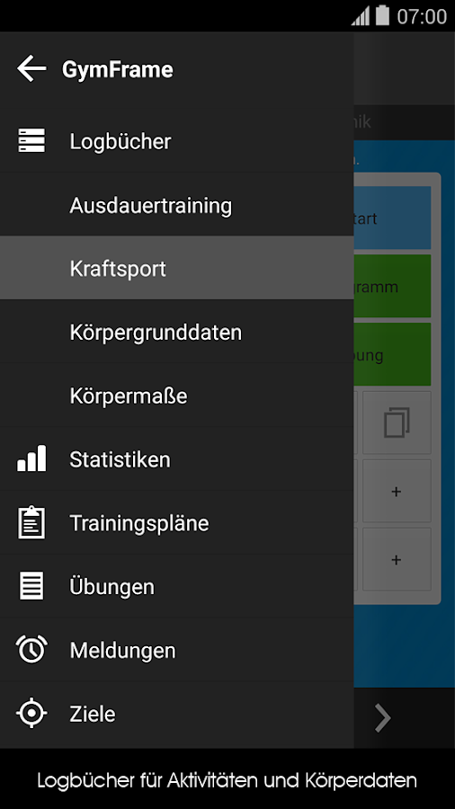 Trainingstagebuch Notizheft – Screenshot