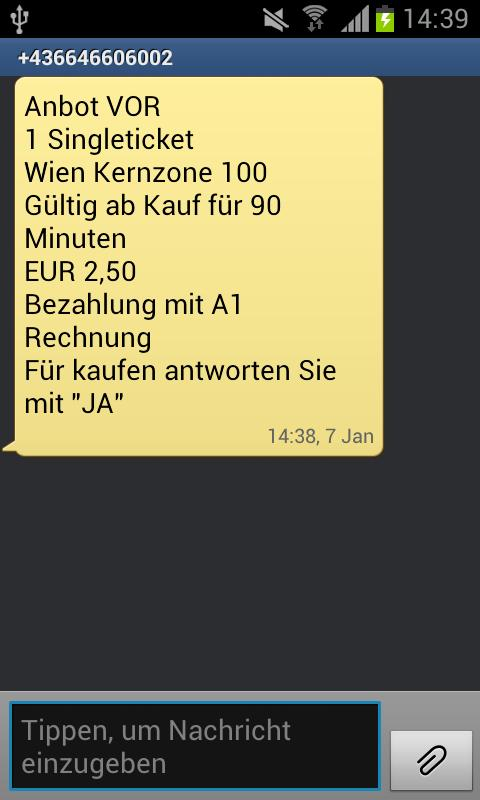 SMS Ticket Wien - screenshot