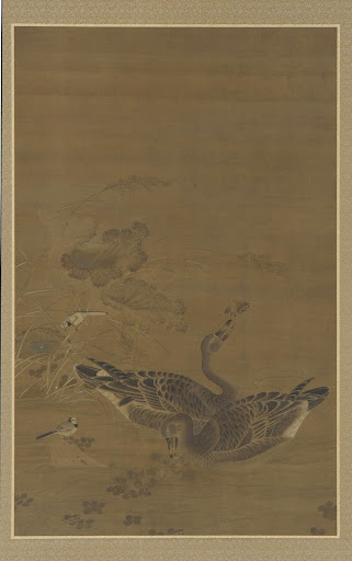 Two Geese Feeding in a Lotus Pond
