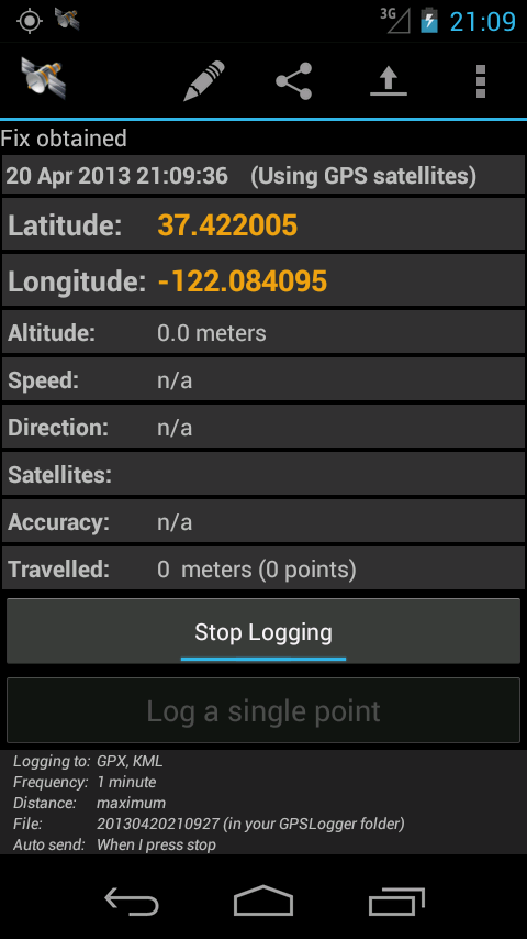 GPS Logger for Android - screenshot