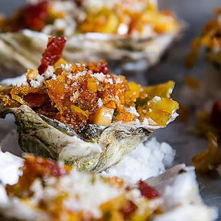 Oysters Gregory with Grilled Leeks, Bacon and Paprika
