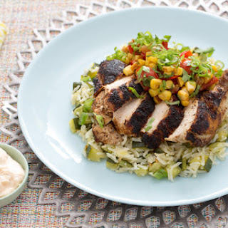 Blackened Chile-Dusted Chicken with Zucchini Rice Pilaf & Corn-Tomato Salsa.