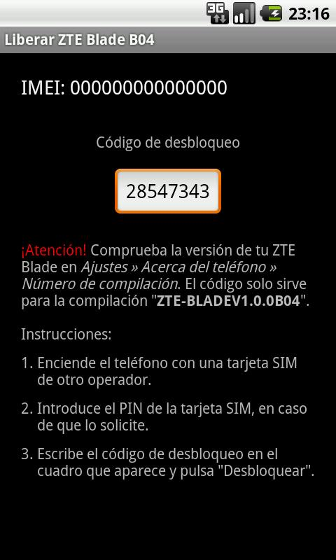 Unlock ZTE Blade B04 - screenshot