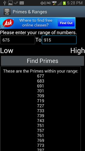 【免費生產應用App】Primes, Factors, and Ranges-APP點子