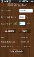 Screenshot of EMI Calculator