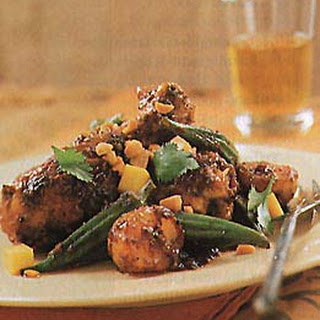 Curried Chicken Legs with Okra and Potatoes.
