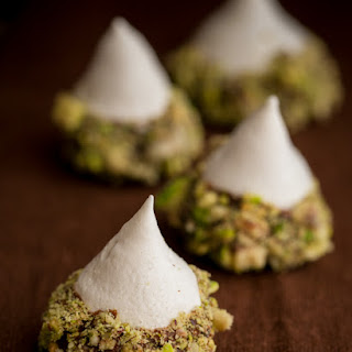 Meringue Acorns with Salted Pistachios and Chocolate.