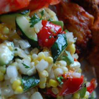 Picnic Party Fresh Corn and Grilled Vegetable Salad.