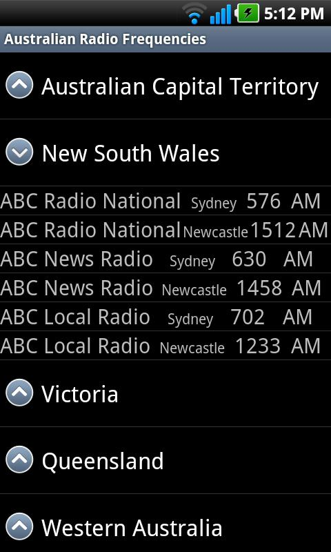 Australian Radio Frequencies - screenshot