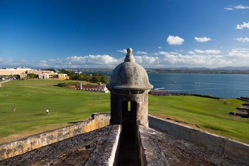 Historic San Cristobal Fort overlooks San Juan, Puerto Rico.