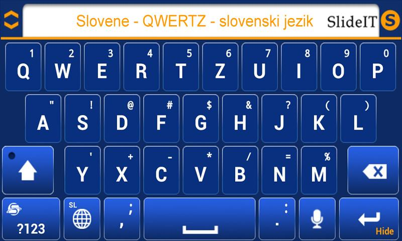 SlideIT Slovenian QWERTZ Pack - screenshot
