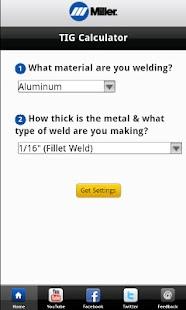 Miller Weld Setting Calculator - screenshot thumbnail
