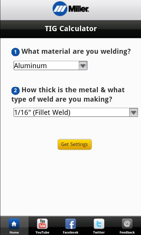 Miller Weld Setting Calculator - screenshot