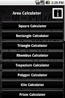 Screenshot of Area Calculator