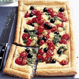 Cheese, Tomato & Pesto Tart.