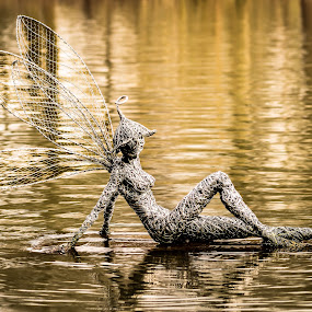 Relaxed by Nicole Williams - Novices Only Objects & Still Life ( fairy sculpture lake reflection )