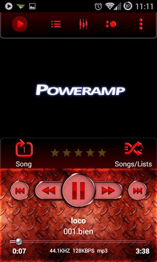 Poweramp Skin Red Metal