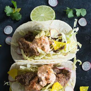 Korean Beef Bulgogi Tacos with Kimchi Mayo