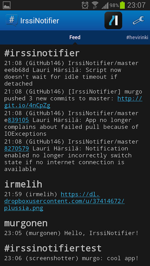IrssiNotifier - screenshot