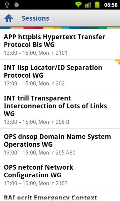 IETF Agenda- screenshot