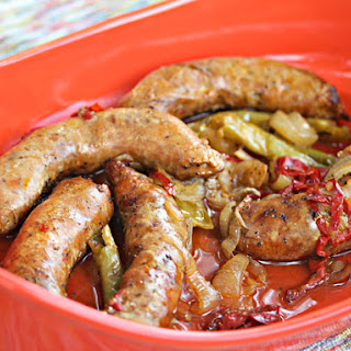 Beer-Basted German Sausages With Quick-Pickled Peppers and Onions