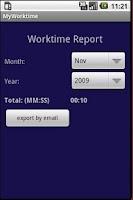 Screenshot of MyWorktime