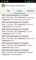 Screenshot of Shortwave Radio Schedules