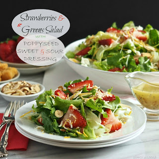 Strawberries & Greens Salad with Poppyseed Dressing
