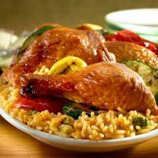 Rotisserie Chicken & Veggies Over Rice.