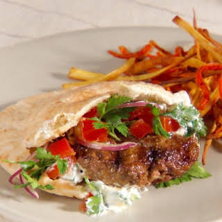 Lamb Burgers with Tzatziki Sauce and Parsley Salad.