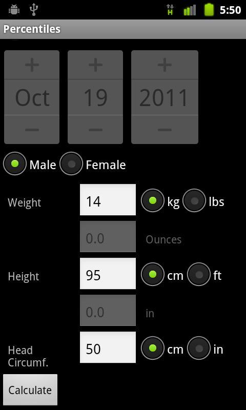 Percentiles- screenshot