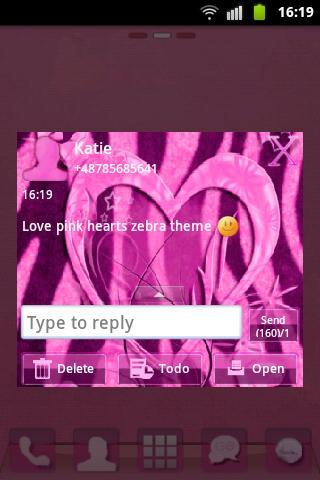 GO SMS Pink Theme Heart Zebra- screenshot