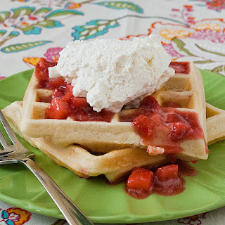Strawberry Cream Cheese Waffles with Strawberry Sauce Recipe