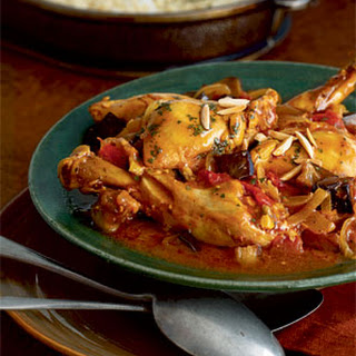 Moroccan Chicken with Eggplant, Tomatoes, and Almonds.