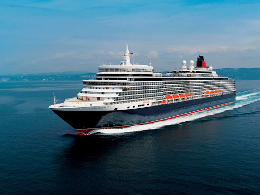 Cunard-Queen-Elizabeth-at-sea - Queen Elizabeth, Cunard's newest luxury cruise ship, reflects modern elite ocean travel as well as Cunard's rich ocean liner heritage.