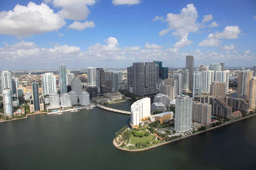 An aerial shot of downtown Miami and the Brickell neighborhood.