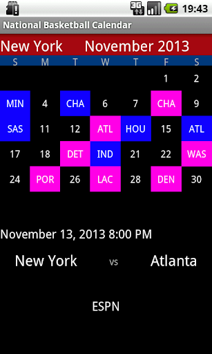 National Basketball Calendar