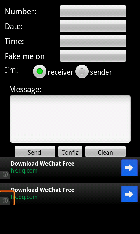 Screenshots of Sending Fake SMS for iPhone