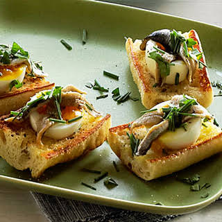 Egg and Anchovy Crostini.
