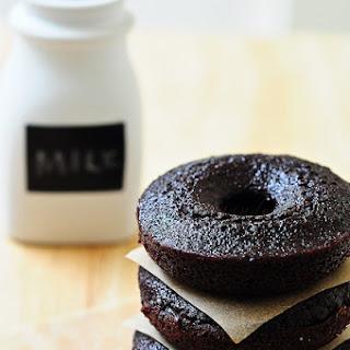 Dark Chocolate Fudge Doughnut Cakes.