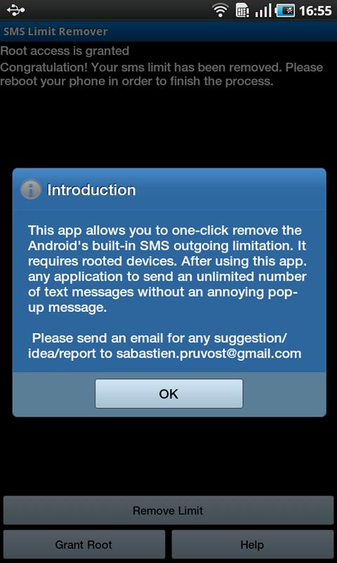 SMS Limit Remover - screenshot