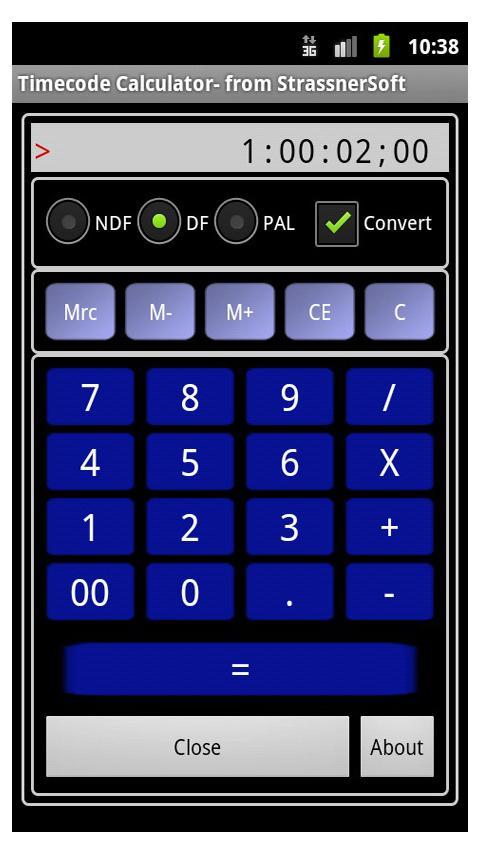TCCalc Time Code Calculator- screenshot