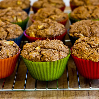 Made-from-Scratch Low-Sugar and Whole Wheat Bran Muffins with Apple and Walnuts.
