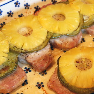 Pork Chops Topped with Pineapple, Green Pepper and Onion