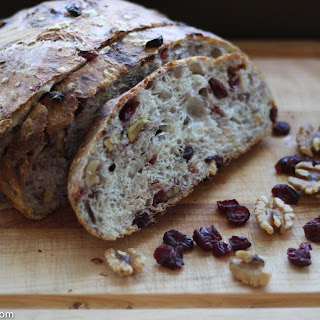 No-Knead Cranberry Walnut Bread