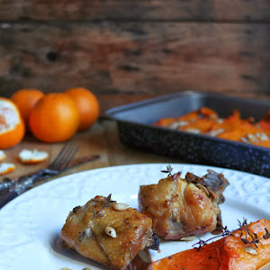 Range Chicken with Tangerine and Roasted Pumpkin