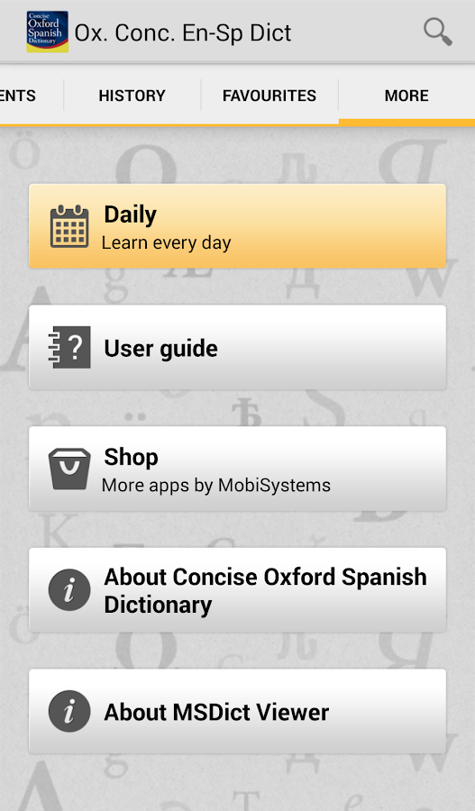 Concise Oxford Spanish Dict- screenshot