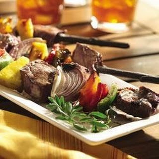 Grilled Beef and Vegetable Kabobs.
