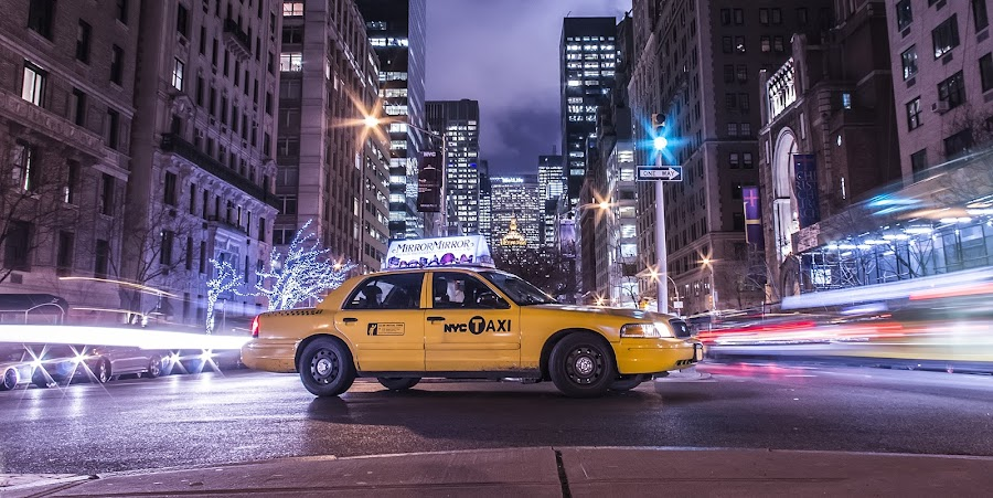 NYC Taxi by Massimo Izzo - City,  Street & Park  Street Scenes ( car, taxi, street, nyc, yellow, park avenue, traffic light, ny, light, usa )